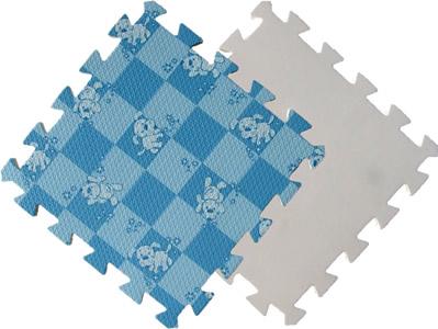Детский мягкий пол «Голубая клетка с собачками». MTP-30104. Мягкий пол. Мягкое модульное покрытие. Коврики пазлы. Пол в детскую комнату.