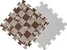 Детский мягкий пол «Коричневая клетка с собачками». MTP-30103. Мягкий пол. Мягкое модульное покрытие. Коврики пазлы. Пол в детскую комнату.