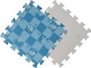 Детский мягкий пол «Голубая клетка с собачками». MTP-30103. Мягкий пол. Мягкое модульное покрытие. Коврики пазлы. Пол в детскую комнату.
