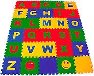 """Детские развивающие коврики пазлы. Набор мягких детских модульных плиток """"Английский алфавит"""""""